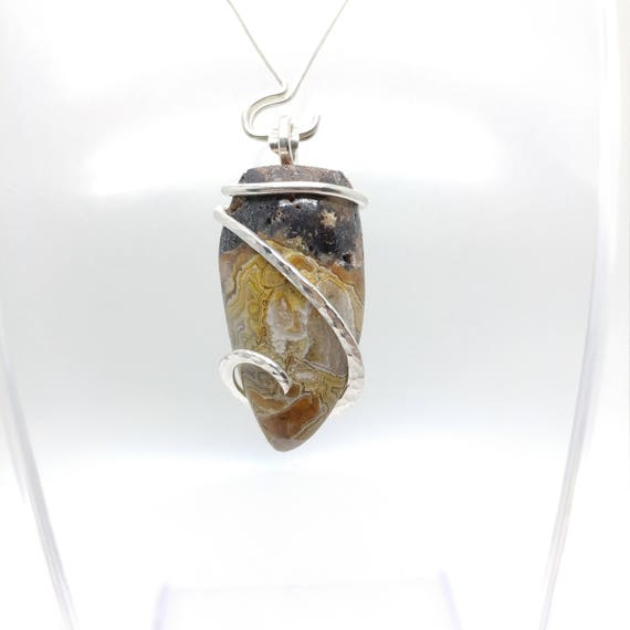 Crazy Lace Agate Pendant Necklace | Rustic Stone Pendant | Tooth Pendant | Sterling Silver Jewelry | Semiprecious Gemstone Pendant