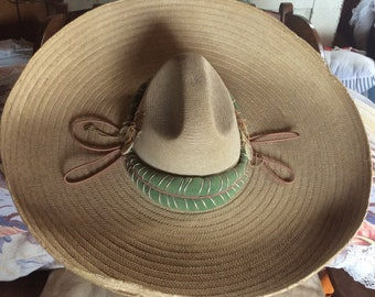 GIANT MEXICAN HAT vintage straw sombrero, laguadalupana, wide brim sunhat