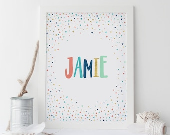 Baby name wall art etsy custom baby name wall art custom nursery name sign triangles personalized name print negle Choice Image