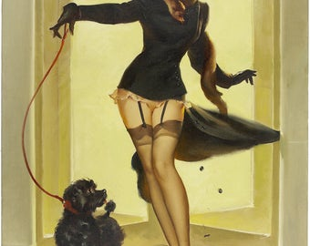 Pin Up Girl Art Print Reproduction, skirting the issue 1952 by Gil Elvgren