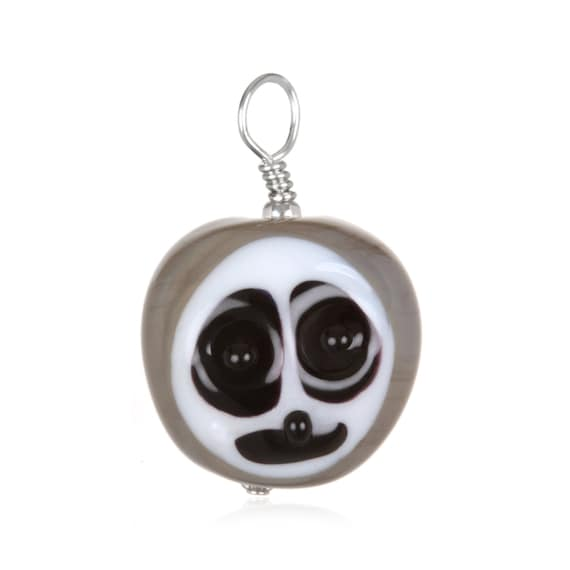 Glass Sloth Pendant Necklace on Leather