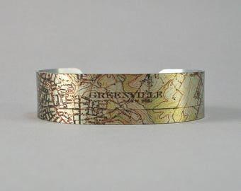 Greenville South Carolina Map Cuff Bracelet Unique Gift for Men or Women