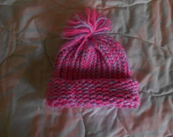 Hand knit Pink & Purple Baby Hat