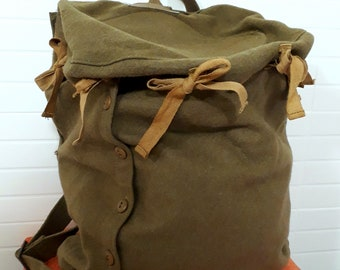 Authentic Vintage 30s 40s Military Backpack Rucksack // made in Italy // Second War Military Cloth Backpack // Khaki // Army // Original//