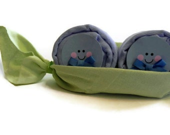 Twin Peas in a Pod Diaper Babies- centerpiece baby burp cloth diaper baby shower gift cute unique boys girls