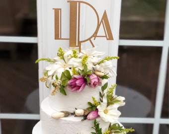 Gatsby Style Monogram Wedding Cake Topper, Art Deco Monogram Cake Topper, Initials Wedding Cake Topper, Gold Monogram Cake Topper