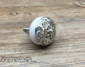 Silver & White Ceramic Knob with Filigree Overlay - Drawer Pull - Shabby Chic Home Decor