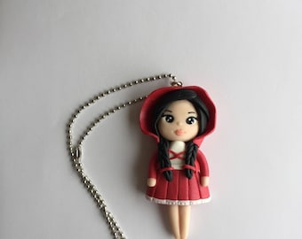 Little Red Riding Hood polymer clay necklace