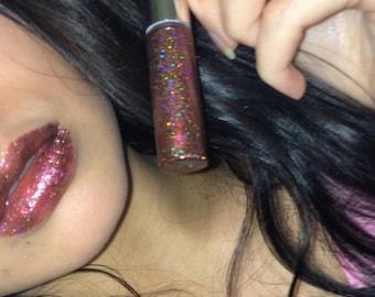 Maroon Holo Glitter Lip Gloss + Vegan