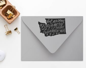Return Address State Stamp / Calligraphy / Rubber Address Stamp with Handle / Personalized / Custom / Christmas Stamp / Wedding Stamp