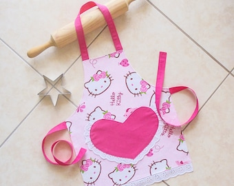 Kids & Toddlers Apron pink, Hello Kitty apron, girls kitchen craft art play apron, lined cotton apron with heart pocket, Kawaii Hello Kitty