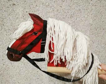 Red hobby horse (stick horse) with white mane and removable  halter Toy horse Small stick horse (stick pony) Handmade wooden toy on a stick