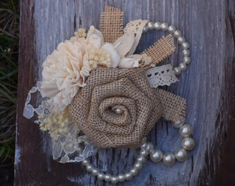 Rustic Wedding Corsage, Burlap Corsage, Bridesmaid Corsage, Mother of the Bride Corsage, Mother of the Groom Corsage, Sola Corsage