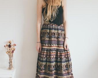 Vintage 70's Egyptian Print Skirt, Retro Maxi Skirt, Bohemian Clothing