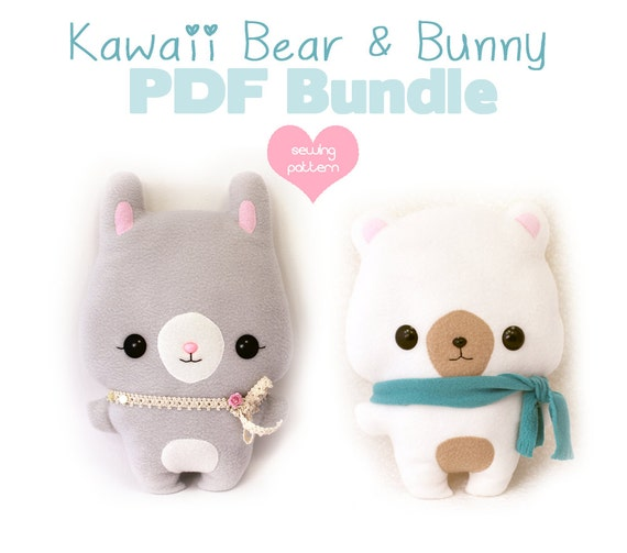 PDF sewing pattern bundle Easter Bear and Bunny Rabbit