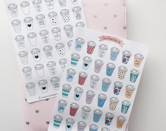 Coffee Cups Planner Stickers | takeaway, coffeeshop, cafe, meeting, colourful, black and white, erin condren, Kikki k,Filofax,bullet journal