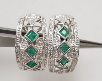 Estate 14k White Gold Natural .50ct Emerald Princess Cut Stones Diamond Hoop Earrings RY99