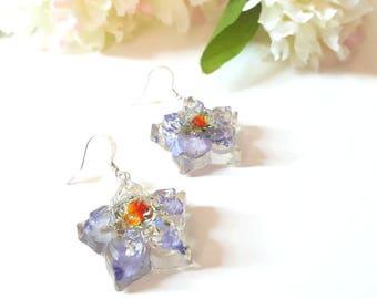 Larkspur Flower Earrings, Dangle Earrings, Resin Earrings, Hoops Earrings, Resin Jewelry/ Flower Earrings, Pressed Flowers