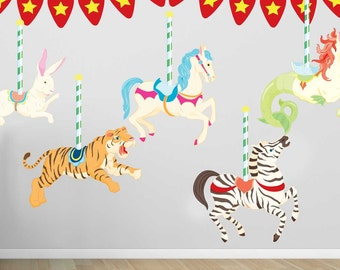 Carousel Wall Decal Kit - Merry Go Round Decal - Reusable Wall Decal by Chromantics