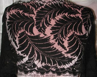 "No. 300 . . . Bridal French Black Wool Faced Lace; 4 Yards and 28"" x 13"" Wide"