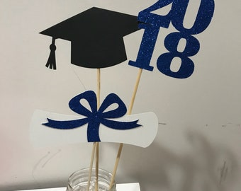 Graduation party decorations 2018 Graduation Centerpiece Sticks, Grad ,Cap ,Diploma , class of 2018, graduation decorations, prom 2018