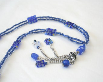 Double Strand Necklace with Cone Pendant, Blue Beaded Jewelry, Millefiori Glass Beads, Handmade Necklace, Unique Jewelry, Gift for Mom