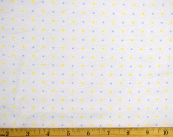 Polka Dot Fabric Blue and Yellow Dot Fabric with White Background FLANNEL