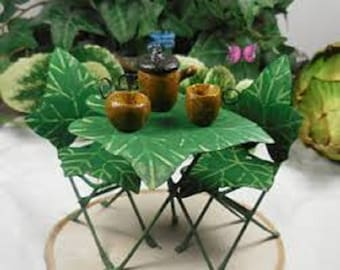 Miniature Garden 3 Piece Ivy Bistro Table and Chairs plus Acorn Tea Set, Dollhouse, Fairy, Train