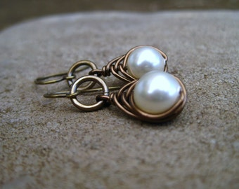 Antique Brass Braided Cream Swarovski Pearl Drop Earrings with Ring