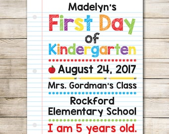First Day of School Sign - Digital First Day of School Sign - Personalized First Day of School Print - Back to School Sign - School Print