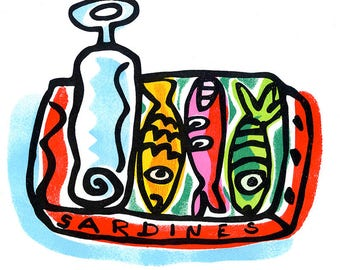 Sardines small poster by Mike Levy 400mm x 300mm Fish/print/30x40cm