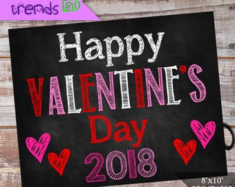 """Happy Valentine's Day Sign, Digital Valentine Chalkboard sign, Printable Photo Prop, 8""""x 10"""" Holiday Poster, INSTANT DOWNLOAD"""