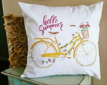 Hello summer, bike pillow cover, Vintage bike pillow cover, summer pillow cover