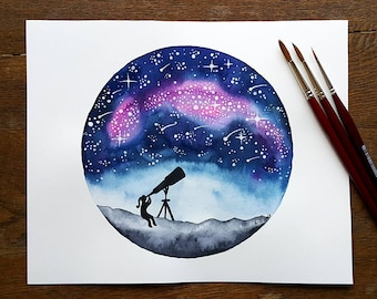 Original watercolor painting Stargazer girl and telescope Stargazing galaxy stars Night sky Astronomy Celestial Nursery science art