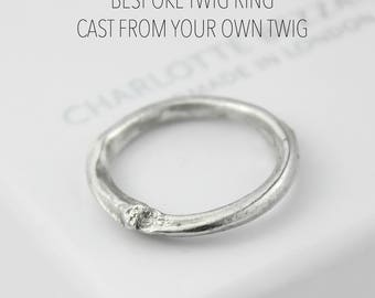 Bespoke twig ring use your own twig, unique wedding ring, rustic engagement ring, mens wedding band, rustic wedding