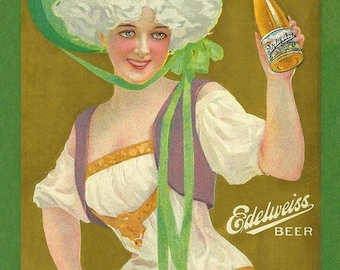 Vintage Beer Label Edelweiss Beer by Schoenhofen Brewing Company Chicago, Illinois Canvas Print