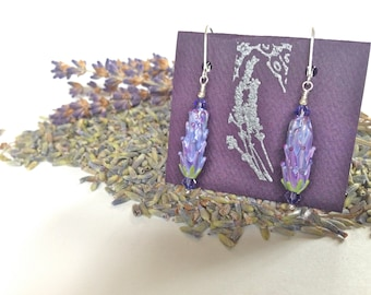 Lavender Glass Bead Earrings in Purple Rose Color with Dried Lavender Sachet Buds