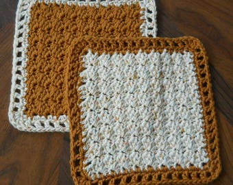 Crochet Dishcloths - brown and off white