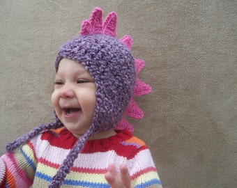 Dragon Hat in Lilac with Bright Pink Spikes - Purple Dinosaur, Girl Dragon Hat, Costume