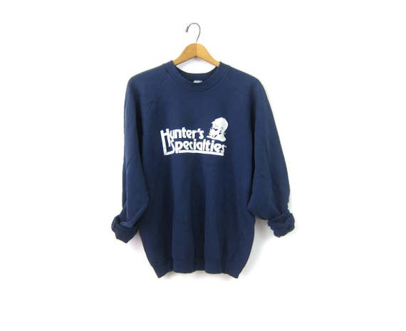 Faded Blue Hunters Specialties sweatshirt 1980s Raglan Sleeves vintage souvenir crewneck pullover Statedment Sweater Size XL