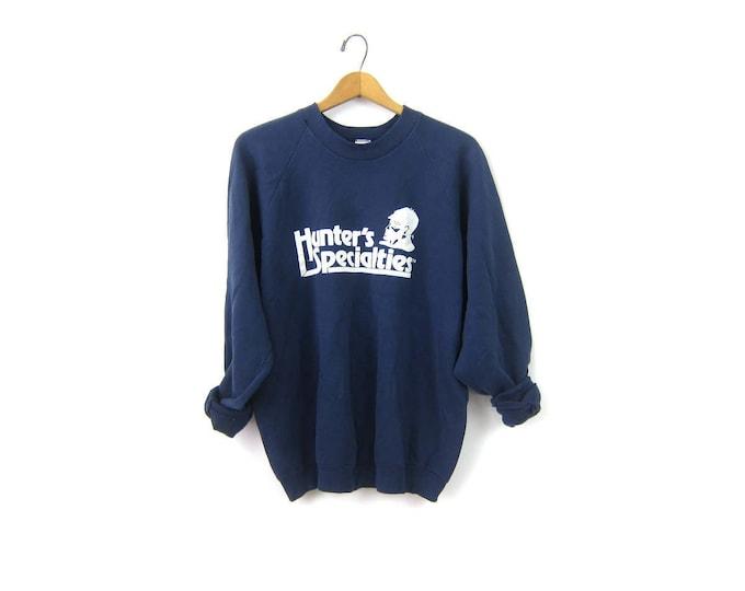 Faded Blue Hunters Specialties sweatshirt 1980s Raglan Sleeves vintage souvenir crewneck pullover Statedment Sweater Size XL