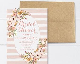 Bridal Shower Invitation Pink Bridal Shower Pink and Floral Bridal Shower Invitation Summer Bridal Shower Invitation