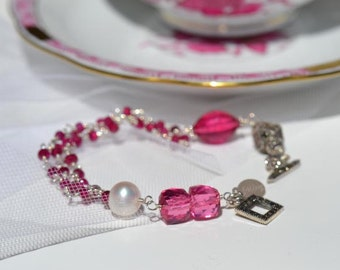 fatdog Bracelet - B1093 Hot Pink Quartz and Freshwater Pearl with Sterling Silver and Marcasite Toggle Clasp - 8 1/4 Inch