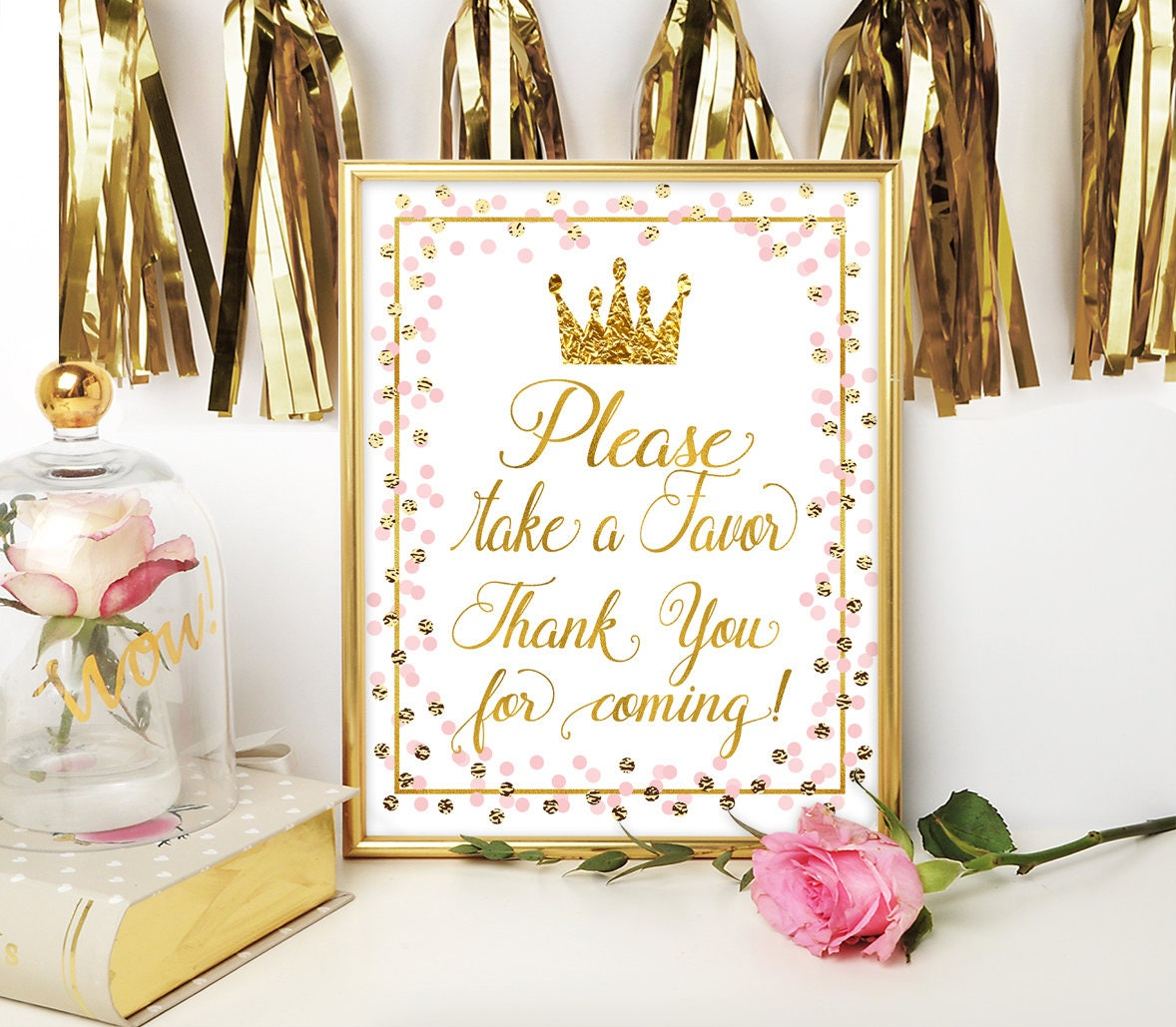 Please Take A Favor sign Princess Baby Shower Favors sign