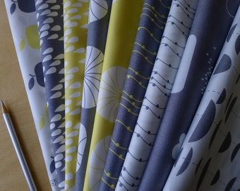 Stof UNO Grey Light Yellow Bundle (9) Pieces Clouds Rain Beads Apples Bicycles Quilting Sewing Crafting Cotton Fabric