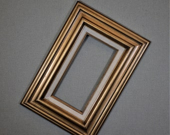6x12 Frame Vintage Gold Wood with Optional Complete Frame Kit Glass and Custom Cut Matting