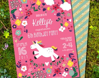 Unicorn Party Invitation - Rainbow Unicorn Invitation - Instantly Download and Edit at home with Adobe Reader