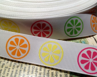 "3 yards 7/8"" CITRUS FRUIT Lemon Orange Grapefruit grosgrain ribbon"