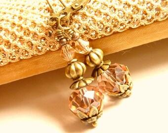 Dusty Rose earrings dusty rose pink crystal drop vintage earrings