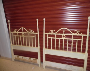 TWO TALL TWINS / Pair Of Metal And Wood Faux Bamboo Twin Headboards / Palm Beach Chic